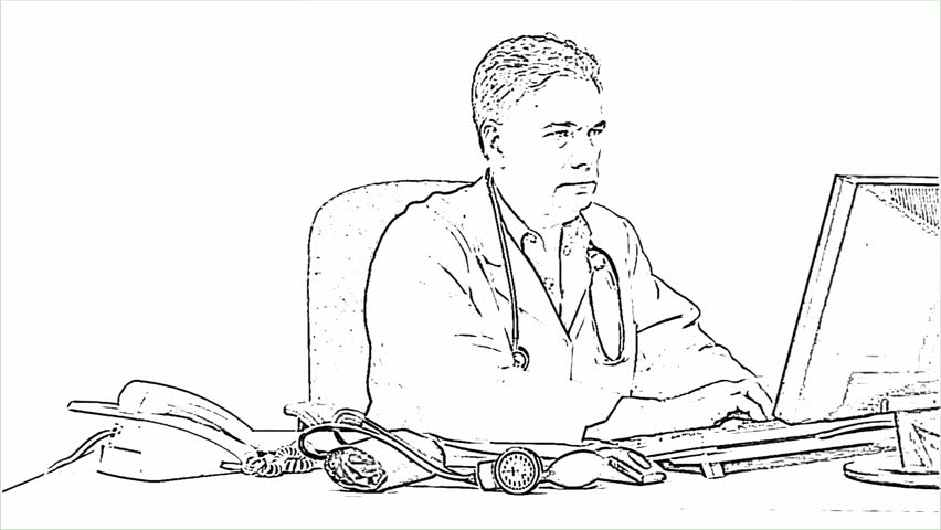 Line Drawing Nurse : An attractive mature physician working in his office takes