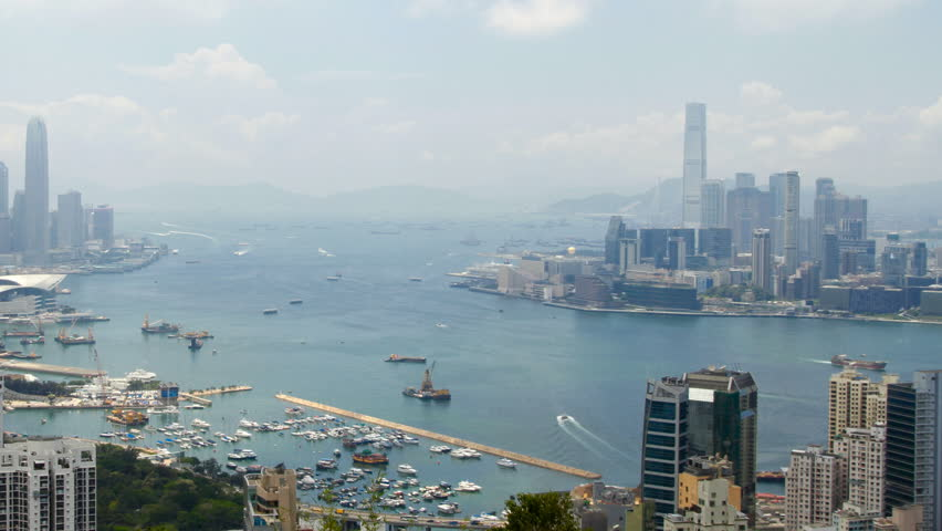 Hong Kong Harbor panorama cityscape - Central District, Victoria Harbor,