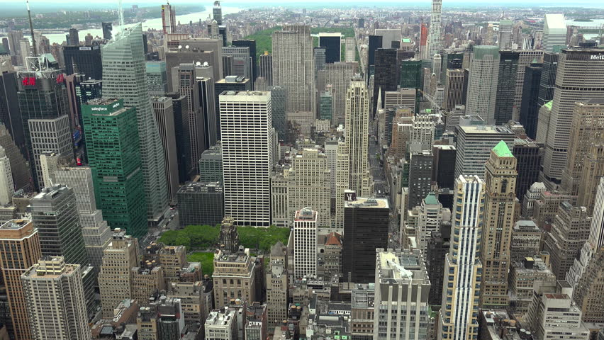 New York, USA - May 2017: View Manhattan skyline skyscrapers from Empire State Building, Manhattan, real time, UltraHd 4k | Shutterstock HD Video #28556194
