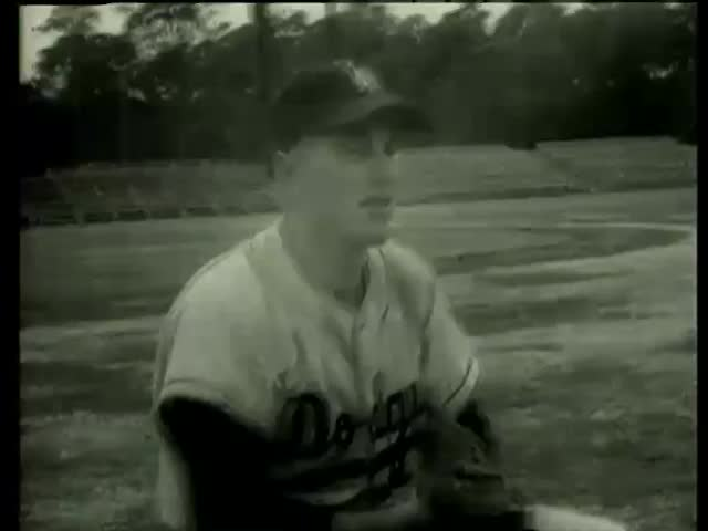 Dodger's catcher Rube Walker Florida circa 1958-MGM PICTURES, UNIVERSAL-INTERNATIONAL NEWSREEL, USA, filmed in 1958 - SD stock footage clip