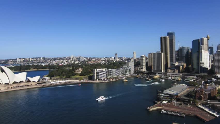 Panning time-lapse of Sydney Harbor