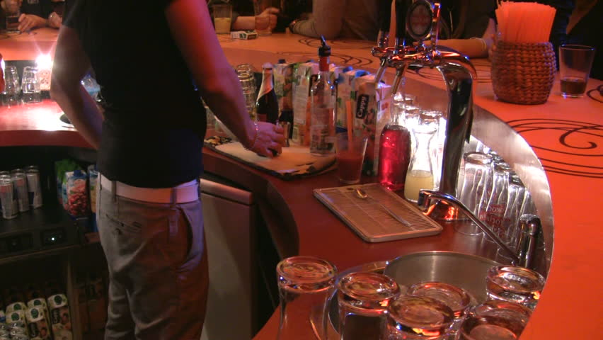 bartender at work - HD stock video clip