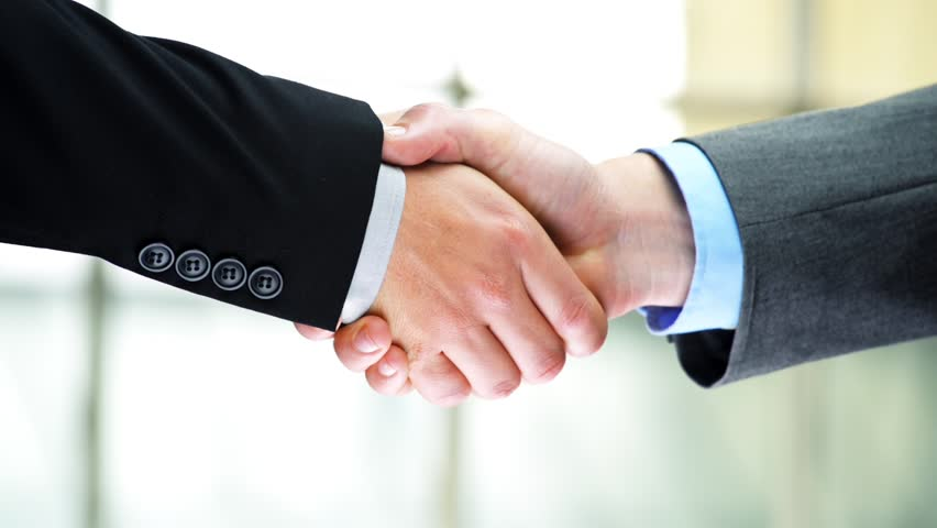 Car rental agreement handshake two businessmen shaking hands high definition video