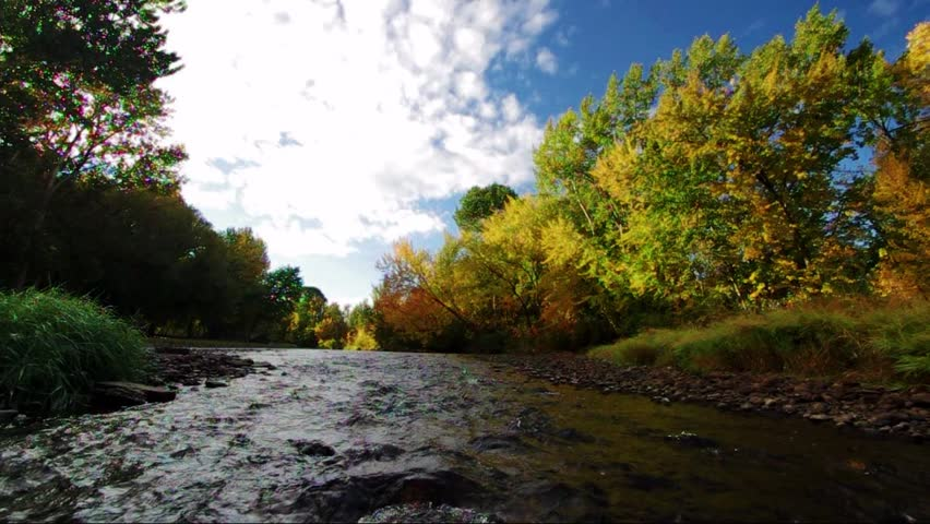 Middle of the Boise river in the autumn hear the water - HD stock footage clip