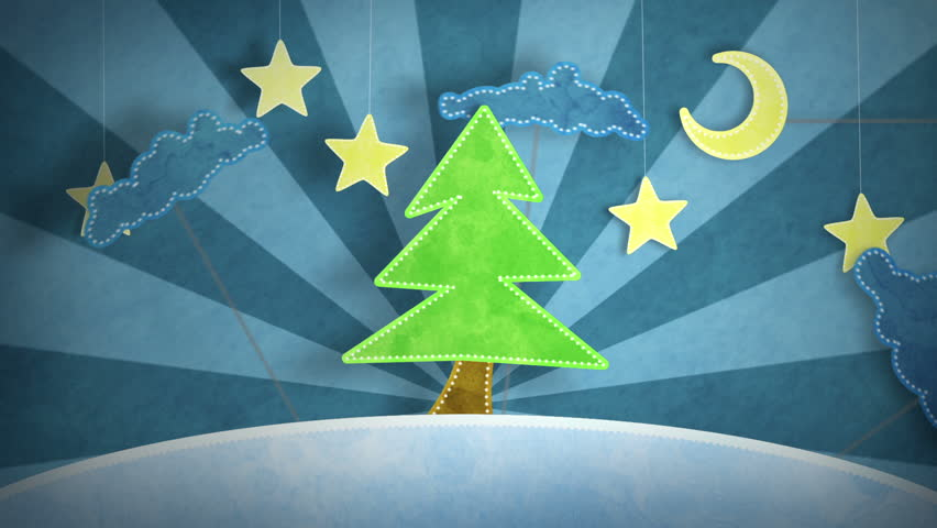 winter scene with christmas tree loop 5.00 - 15.00. luma matte for first and last 4 seconds