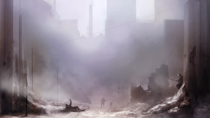 Battlefield art background. Illustration of a world war 2 daylight battle scene with soldiers and destroyed buildings background. | Shutterstock HD Video #28986772