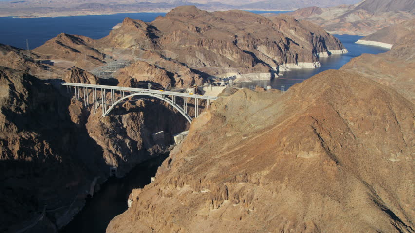 Aerial view Hoover Dam producing hydroelectricity Colorado River Bridge on US 93 near Las Vegas Nevada USA RED EPIC | Shutterstock HD Video #29009227