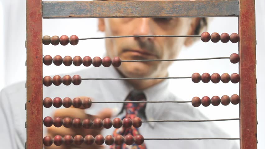 accountant with abacus over white background - HD stock video clip