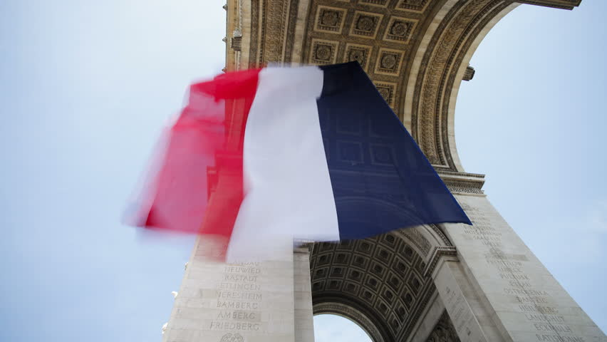 French flag flying under the arc de triomphe in paris france t lapse | Shutterstock HD Video #29032843