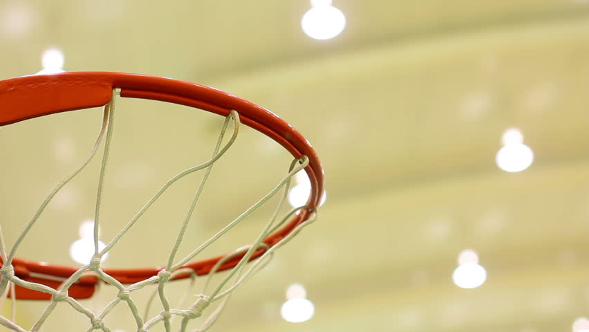 scoring basket in basketball court - HD stock footage clip