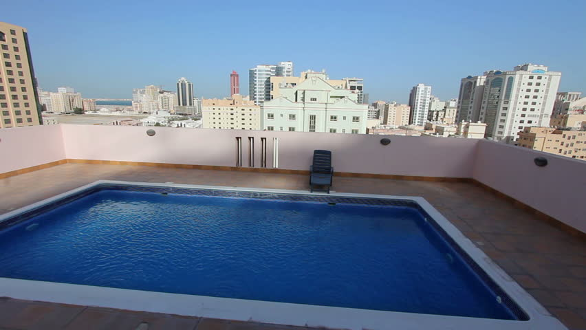 Swimming Pool At Roof Of Apartment In Bahrain Stock Footage Video 2906929 Shutterstock