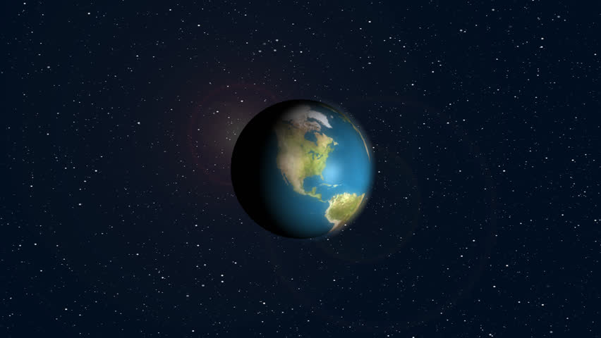 Earth in orbit. shooting star.  Zoom into earth then zooms off into space as shooting star fly by. - HD stock video clip