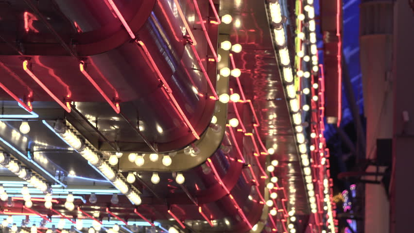 Establishing shot of flashing casino lights exterior building 4k | Shutterstock HD Video #29077636
