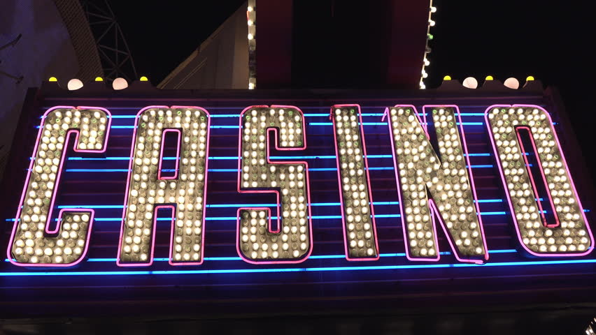 Large colorful casino sign flashing exterior of building 4k | Shutterstock HD Video #29077645