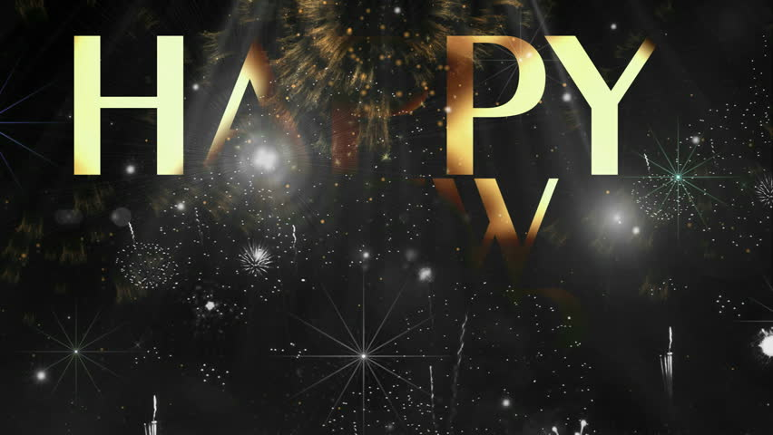 """Holiday Fireworks Happy new year text animation ( Series 4 - Version from 1 to 12 ) + """" Thing Different """" ++ """" You can find every week new Footage """" + + + """" Have a look at the other Footage series """" - HD stock video clip"""