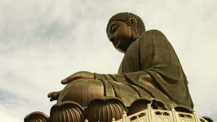Big Buddha with Clouds background Time lapse