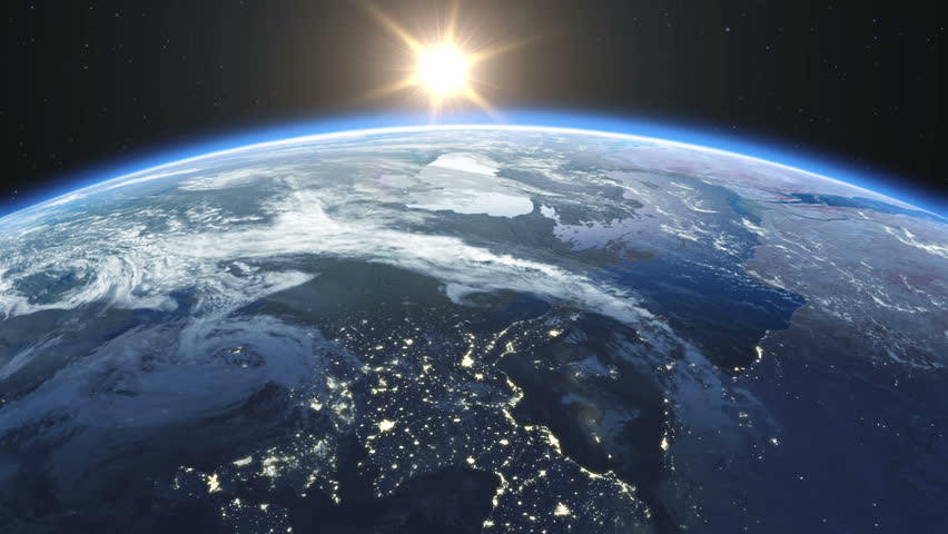 Beautiful Sunrise over the Earth. Cities at Night. HD 1080.   Shutterstock HD Video #2909092