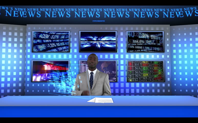 Reporter sitting at a desk in a studio while reporting the news worldwide - HD stock footage clip