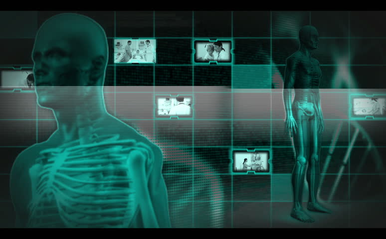 Montage of doctors at work with patients on digital interface with revolving green skeleton - HD stock footage clip