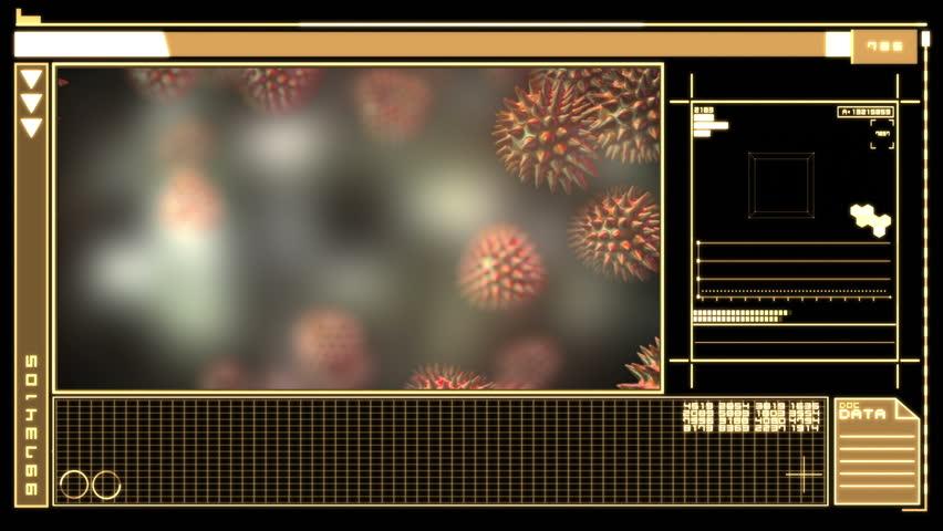 Medical digital interface showing orange virus on black background