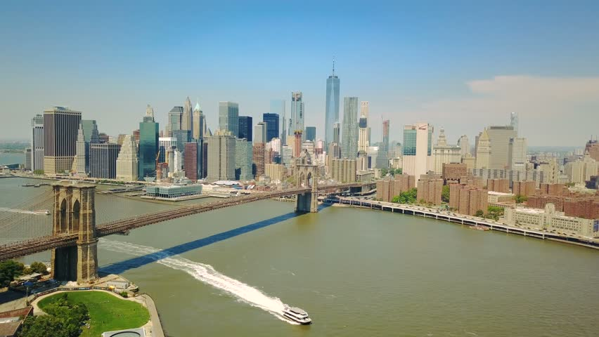 Aerial drone view of New York Financial District of Manhattan, Brooklyn Bridge | Shutterstock HD Video #29109928