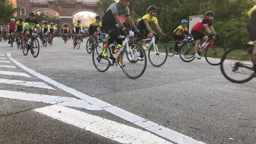"PAHANG, MALAYSIA - 9 JULY 2017 : Cyclists take off for VIPCR 2017 during Year visit pahang 2017 in Bukit Gambang resort. This event concept "" from rider to rider "" 