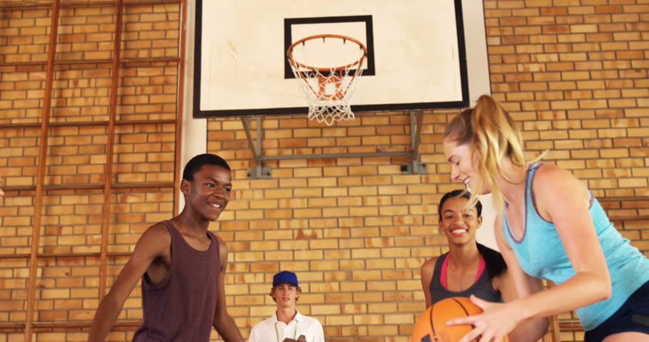 Coach helping high school team to score a goal while playing basketball in the court | Shutterstock HD Video #29212222