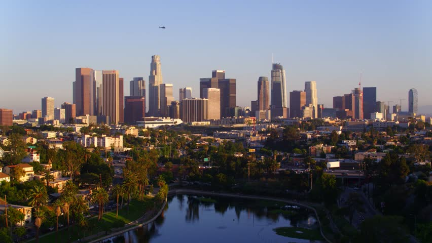 Echo Park with view of Downtown Los Angeles   Shutterstock HD Video #29228575