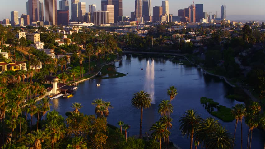Echo Park Fountains with view of Downtown Los Angeles   Shutterstock HD Video #29228584