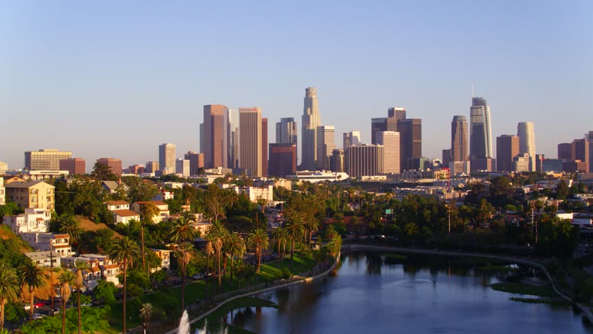 Echo Park with view of Downtown Los Angeles   Shutterstock HD Video #29228638