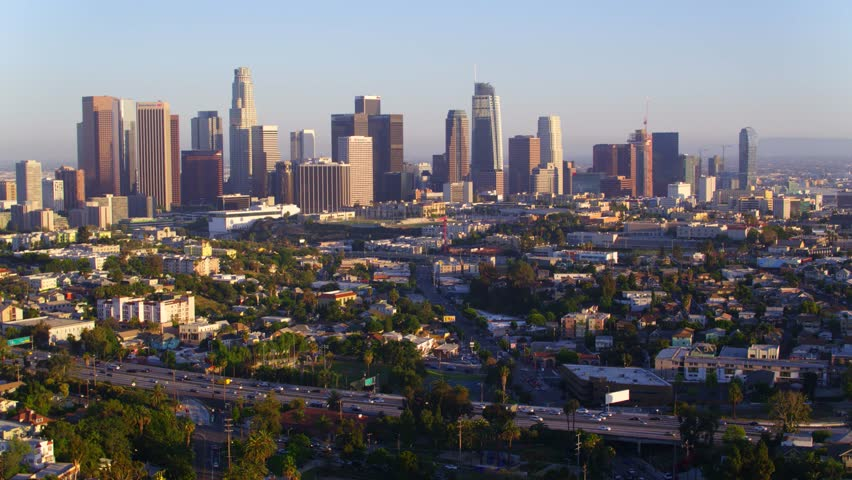 Freeway in front of Downtown Los Angeles   Shutterstock HD Video #29228683