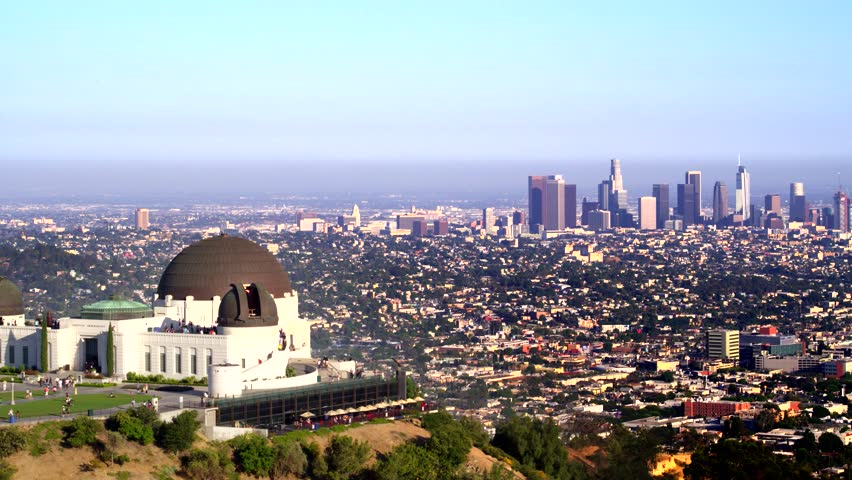Griffith Park Observatory and view of Downtown Los Angeles   Shutterstock HD Video #29228764