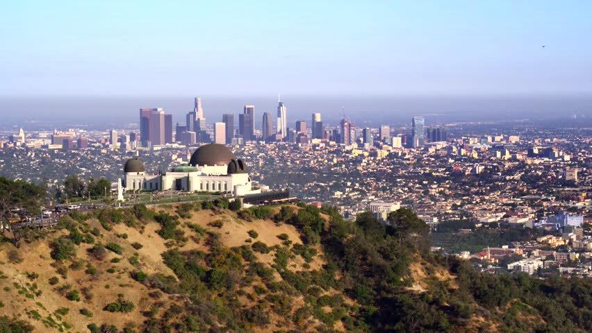 Griffith Park Observatory and view of Downtown Los Angeles   Shutterstock HD Video #29228791