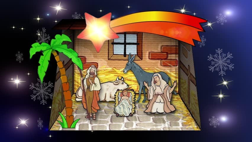 Nativity scene with animated palm trees and the star of