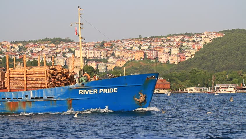 ISTANBUL - JULY 5: Cargo ship RIVER PRIDE (IMO: 8861034, Belize) on July 5, 2012