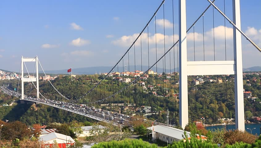 FSM (Second) Bridge, Istanbul, Turkey. Heavy traffic on the cable bridge. Tilt