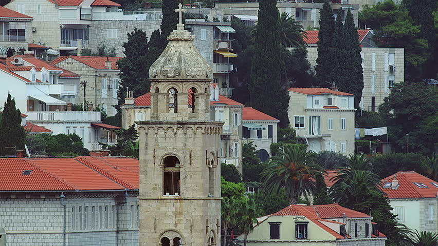 Dubrovnik old city with bell tower of Dominican convent, Croatia. Walls detail. - HD stock footage clip