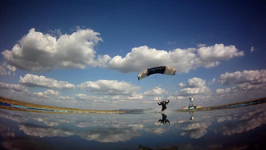 Skydiver landing on water
