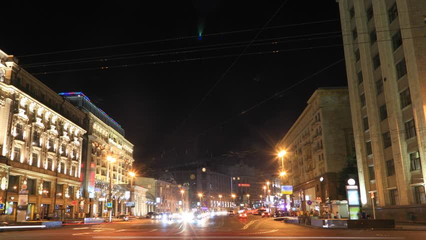 Night traffic timelapse. Tverskaya street in Moscow, Russia