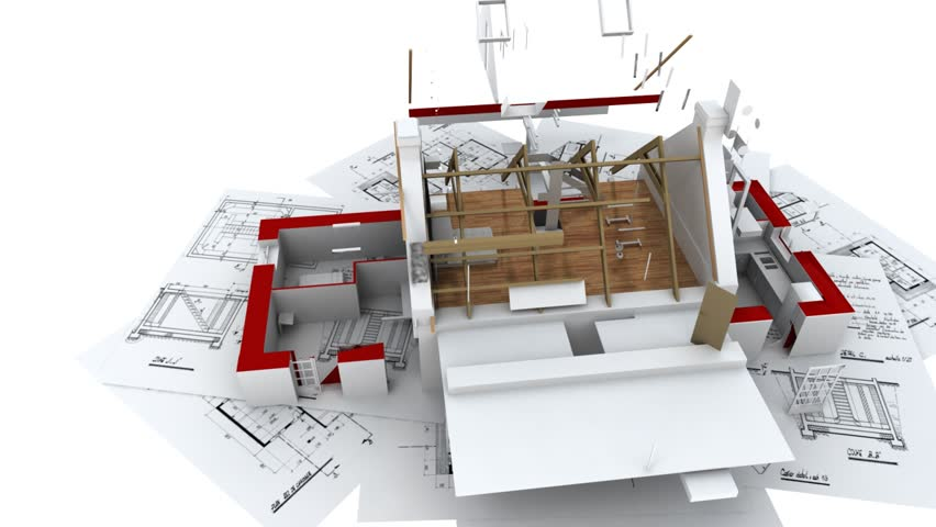 3D animation showing a home construction process, from the blueprints to the roofing installation. #2980012