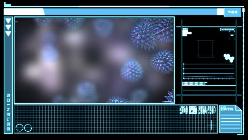 Medical digital interface showing virus in blue and black