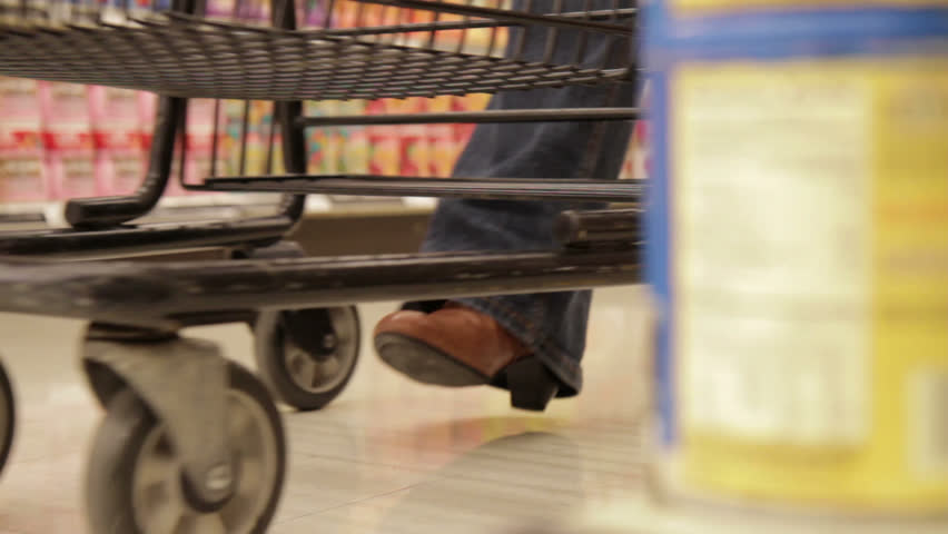 Shopping Cart in Store - Dolly Shot - HD stock video clip