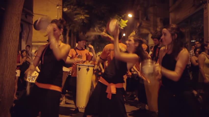 BARCELONA - OCTOBER 07: A brazillian drumming group perform during the fiesta de gracia event, Barcelona, Spain. OCTOBER 07, 2012.  - HD stock video clip