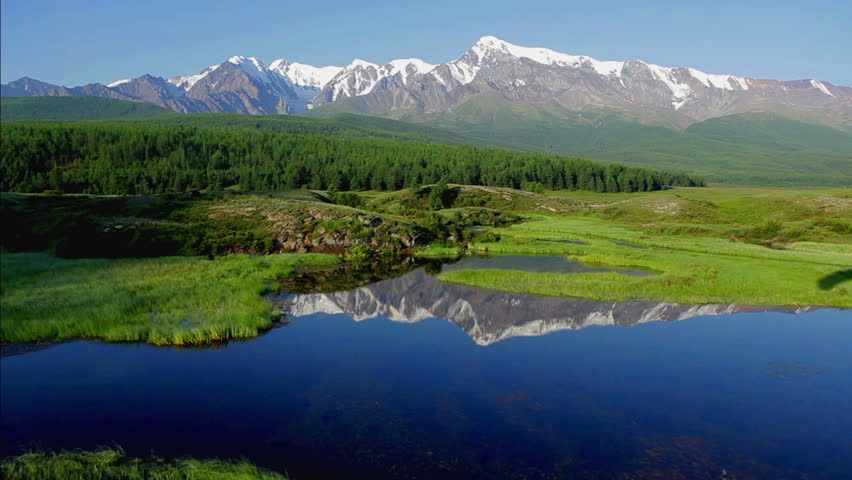 Aerial View. Flying over the beautiful lake near mountains. Aerial camera shot. Landscape panorama. Altai, Siberia. #2998363