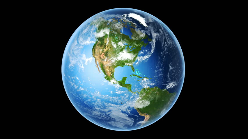 Realistic Earth Rotating on Black (Loop). Globe is centered in frame, with correct rotation in seamless loop. Texture map courtesy of NASA.