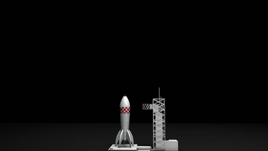 Toy-like rocket blasting off from launch pad. Matte included.