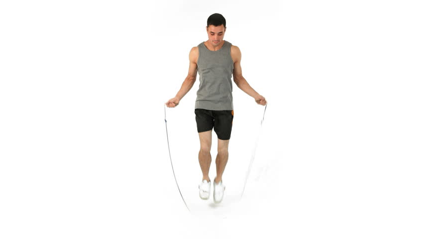 Young Man Training With A Skipping Rope In Slow Motion On ...