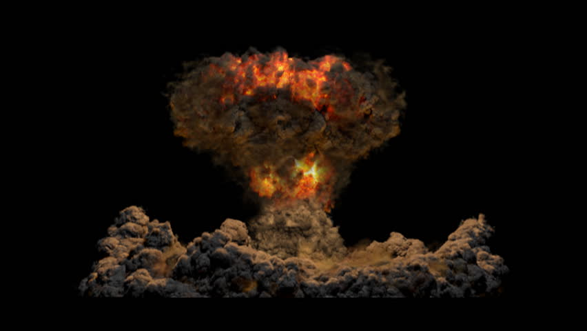 Atomic Bomb with Alpha channel matte. Fiery, Side View. VFX element created using proprietary CG fluid dynamics methods. - HD stock video clip