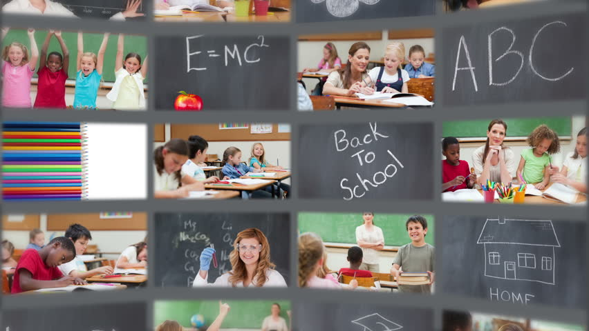 Animation of pupils enjoying their school life - HD stock footage clip