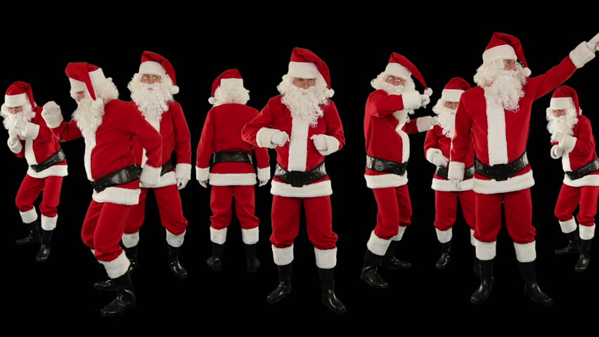 Bunch of Santa Claus Dancing Against Black, Christmas Holiday Background | Shutterstock HD Video #3018694